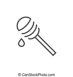 Honey dipper line icon - Honey dipper thick line icon with...