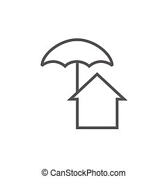 House under umbrella line icon - House under umbrella thick...