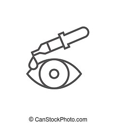 Pipette and eye line icon - Pipette and eye thick line icon...