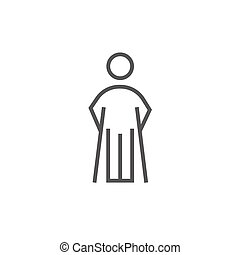 Man with crutches line icon - Man with crutches thick line...