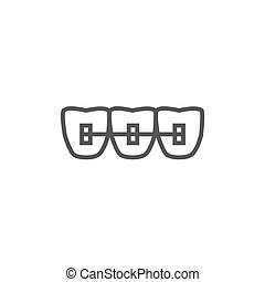 Orthodontic braces line icon - Orthodontic braces thick line...