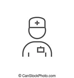 Nurse line icon - Nurse thick line icon with pointed corners...
