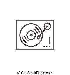 Turntable line icon - Turntable thick line icon with pointed...