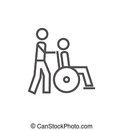 Nursing care line icon - A man pushing a wheelchair with a...