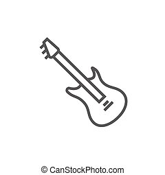 Electric guitar line icon - Electric guitar thick line icon...