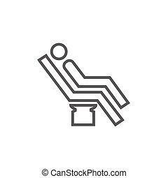 Man sitting on dental chair line icon - Man sitting on a...