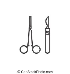 Surgical instruments line icon - Medical scalpel and clamp...