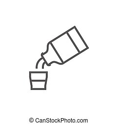 Medicine and measuring cup line icon. - Medicine and...