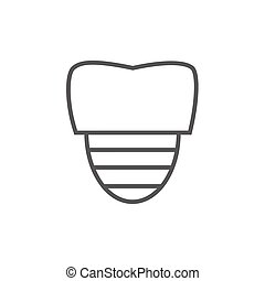 Tooth implant line icon. - Tooth implant thick line icon...