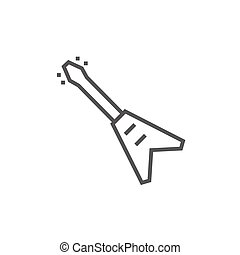 Electric guitar line icon. - Electric guitar thick line icon...