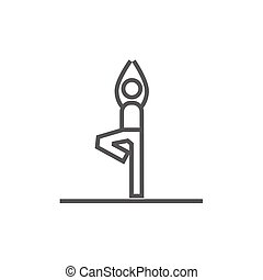 Man practicing yoga line icon. - Man standing in yoga tree...