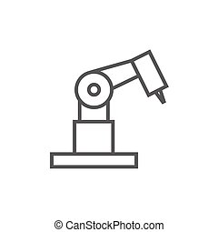 Industrial mechanical robot arm line icon - Industrial...