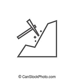 Mining line icon - Mining thick line icon with pointed...