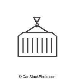 Cargo container line icon - Container lifted by a crane...