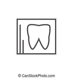 X-ray of tooth line icon - X-ray of the tooth thick line...