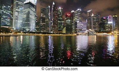 Night views of Singapore, Marina Bay panorama.