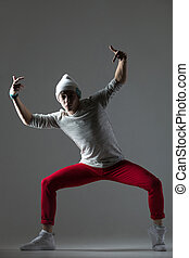 Hipster guy dancing - Portrait of one teen funny hipster guy...