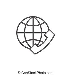 Global communications line icon - A globe with a headset...