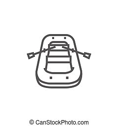 Inflatable boat line icon. - Inflatable boat thick line icon...