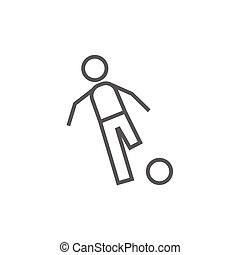 Soccer player with ball line icon.