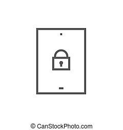 セキュリティー, 線, アイコン, タブレット, デジタル