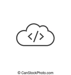 Transferring files cloud apps line icon - Transferring files...