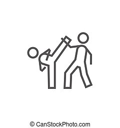 Karate fighters line icon - Karate fighters line icon for...