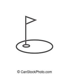 Golf hole with flag line icon - Golf hole with a flag thick...