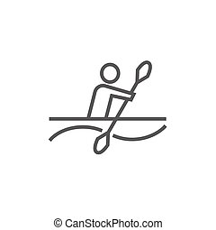 Man kayaking line icon.