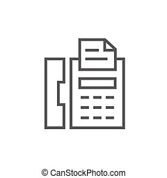 Fax machine line icon. - Fax machine thick line icon with...