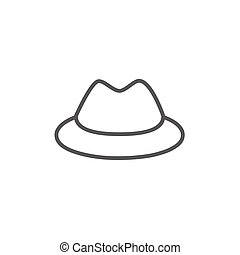 Classic hat line icon. - Classic hat thick line icon with...