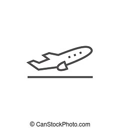 Plane taking off line icon. - Plane taking off thick line...