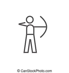 Archer training with bow line icon. - Archer training with...