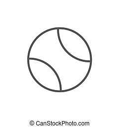 Tennis ball line icon - Tennis ball thick line icon with...