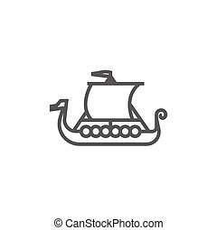 Old ship line icon. - Old ship thick line icon with pointed...