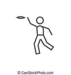 Frisbee line icon. - Frisbee thick line icon with pointed...