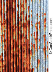 zinc fence and rust stains