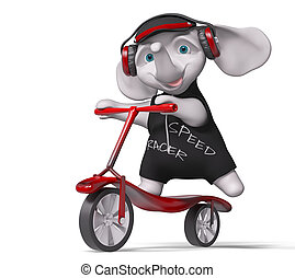 Teenager elephant riding scooter isolated 3d render -...