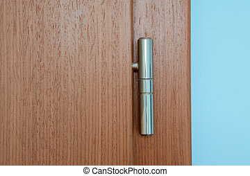 Sliver door hinge on brown wooden door
