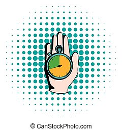 Hand holding a stopwatch icon, comics style - Hand holding a...