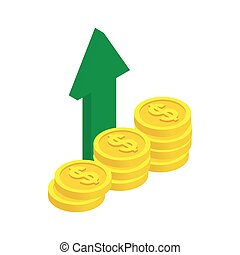 Stack of coin with green arrow icon