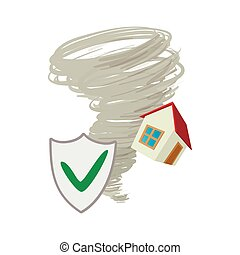 Property insurance icon, cartoon style - Property insurance...