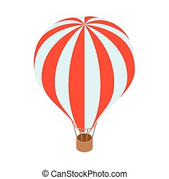Air balloon icon, isometric 3d style - Air balloon icon in...