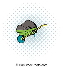 Unicycle trolley icon, comics style - Unicycle trolley with...