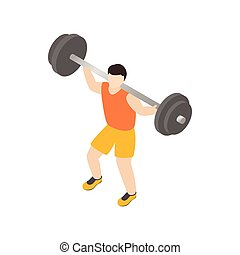 Man lifting barbell icon, isometric 3d style
