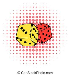 Red and yellow dice icon, comics style