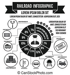 Railroad infographic elements, simple style