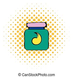 Hair gel in a plastic container icon, comics style - Hair...