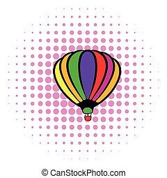 Bright air balloon icon, comics style - Bright air balloon...