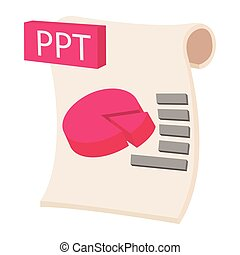 PPT extension text file icon, cartoon style - PPT extension...